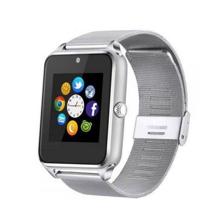 71/5000 AlphaOne - stříbrný kovový náramek Smart hodinky, vestavěný fotoaparát