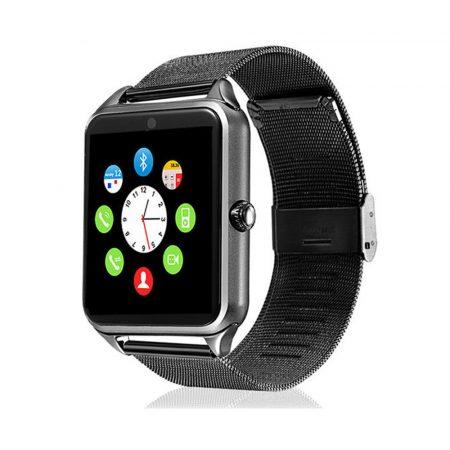 AlphaOne smart hodinky, černý ocelový náramek, vestavěný fotoaparát