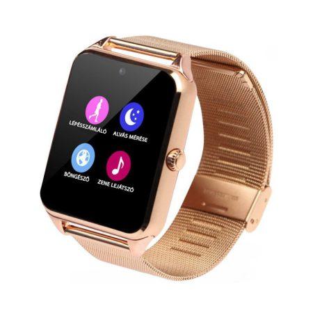 AlphaOne smart hodinky, kovový řemínek, SIM karta, vestavěná kamera, zlatá holm0196