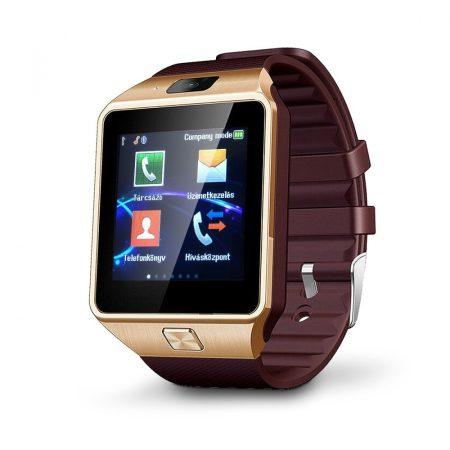 AlphaOne DZ inteligentní hodinky se zlatým, hnedým opaskem holm0205