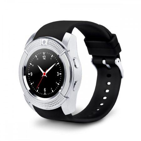 Bass V8 smart hodinky, stříbrné