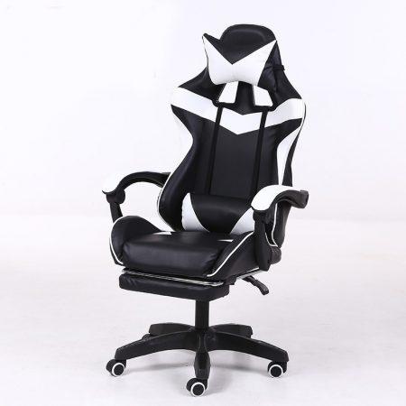 RACSING PRO X Herní židle opěrkou na nohy bílo-černá barva