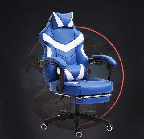 RACSING PRO X Gamer szék lábtartóval, fehér-kék Ingyenes szállítással-Sokat vagy fent a neten? Vége az elgémberedett ízületeknek.