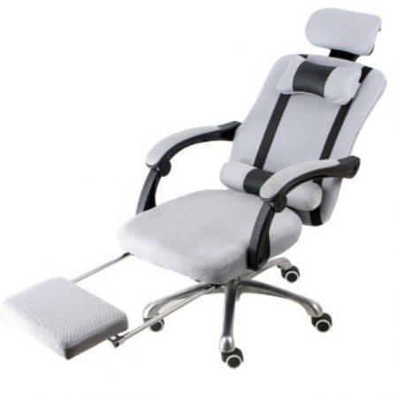 Prezidentská otočná židle s opěrkou pro nohy Doprava zdarma, šedá - pohodlí a pohodlí, ergonomický design!