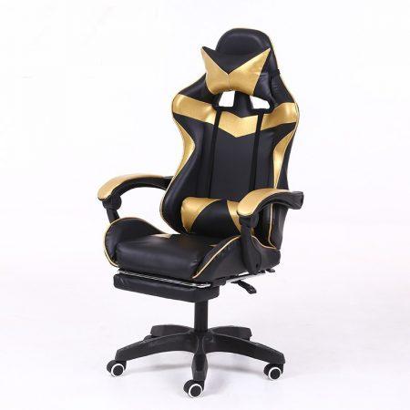 RACSING PRO X Herní židle opěrkou na nohy Zlatá-černá barva