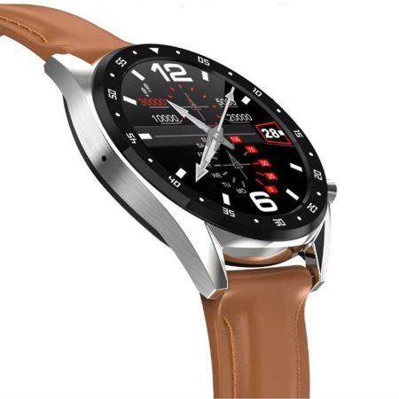 L7 inteligentní hodinky s hnědým kožený náramkem