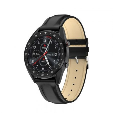 L7  inteligentní hodinky s černým koženým náramkem - můžete jej používat v jakékoliv oblasti života
