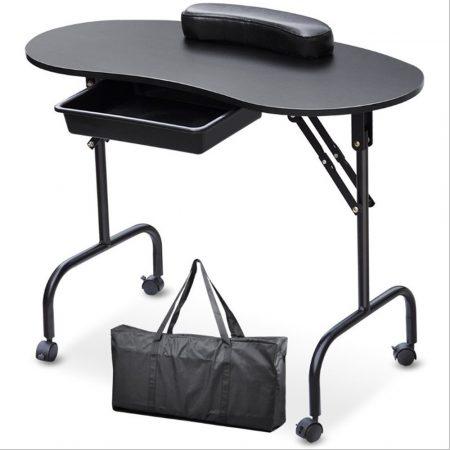 Skládací stolek na kolečkách na nehtovou manikúru černá