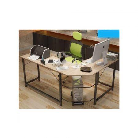 Rohový kancelářský stůl ve tvaru L  světlé barvy