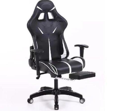 Herní židle Sintact  bílo černé s podnožkou