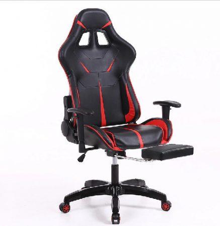 Herní židle Sintact   červeno černé  s podnožkou