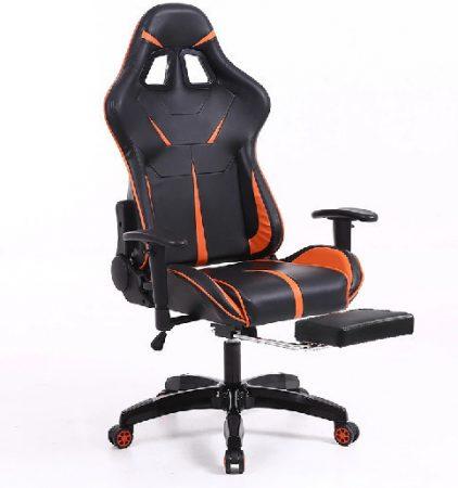 Sintact Gamer židle oranžono-černá s opěrkou pro nohy