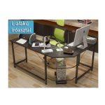 Rohový kancelářský stůl ve tvaru L černý